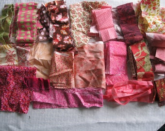 Stash-Buster Pink Cotton Quilting Fabric Scraps #2