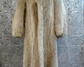 Vintage Coyote Fur Coat, Full Length, Lined
