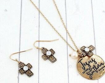Southern Raises Jesus Saved Necklace Set