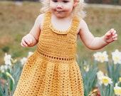 The Primrose Dress in Gold, Toddler Girl Dress, Summer Tank Dress, Collar Dress, Dress For Baby, Yellow Cotton Dress, Girl Spring Outfit