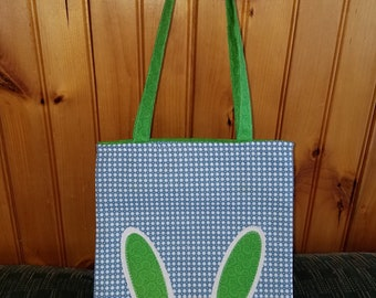 Blue and Green Easter Bunny tote bag