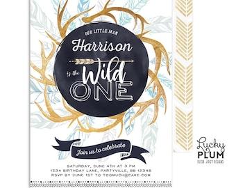 Wild One Birthday Invitation / Wild One First Birthday Invitation / Boy Deer Antler Boho Adventure Arrow Modern *Digital