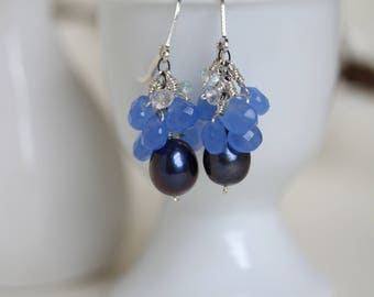Blue earrings with chalcedony, aquamarine & freshwater pearls