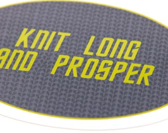 Vinyl Sticker Knit Long and Prosper, laptop sticker
