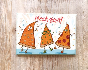 Pizza Refrigerator Fridge magnet funny Foods Italian theme pizza lover kitchen gift hipster dudes foods with faces stocking stuffer