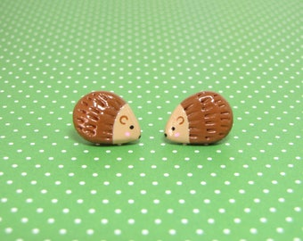 Cute Woodland Hedgehog Clay Sterling Silver Post Earrings