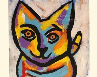 Colorful Cat, Original Painting, Original Art,  Whimsical Painting, Winjimir, Home Decor, Wall Art, Vet, Office Art, Pets, Silly Cat, Art