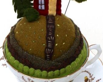 Teacup Pincushion Tiny World House on a hill Fall flowers