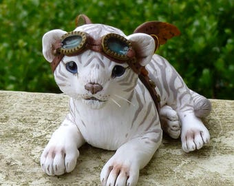 Baby White Tiger Steampunk Myxie Pal Sculpture