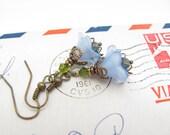 Blue Flower Earrings Rustic Woodland Fairy Wedding, Vintage Glass Swarovski Crystals, Hawaiian Jewelry