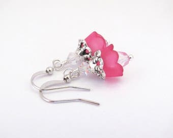 Hot Pink Flower Earrings Swarovski Crystal, Silver Tone, Boho Wedding, Spring Summer Jewelry, Dainty Dangle Bohemian Earring, Hawaiibeads