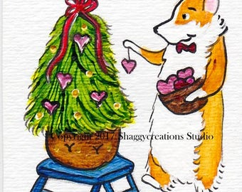 Christmas Valentines Corgi Art Card Original Painting ACEO ~ Animal Art ~ Pembroke Welsh Corgi Art ~ Christmas Tree Art ~ Nursery Decor ~