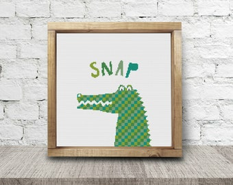 Green Alligator Cross Stitch Pattern Needlepoint Embroidery Baby Nursery Zoo Print DIY Art Decor Shower Gift Modern Kids Crocodile Animal