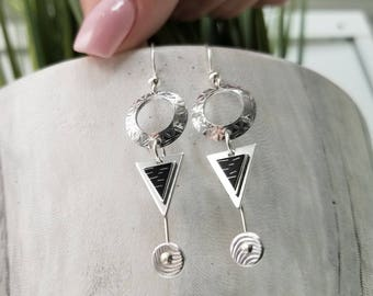 Black & Silver Statement Jewelry, Contemporary Metal Earrings, Modern Drop Earrings, Holiday Gifts For Women - Sydney Earrings by Jon Allen