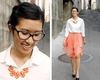 SALE . sheffield . coral // coral bib necklace . coral scalloped necklace . coral statement necklace . coral bubble necklace