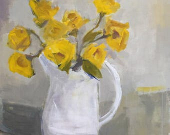 yellow roses original 30x40 acrylic painting yellow art yellow and white large floral painting pamela munger