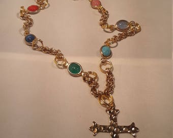 Colorful Resin Scarab and Golden Cross Necklace