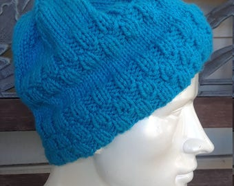 Knitted Texture Slouchy Fit Blue Beanie Cap