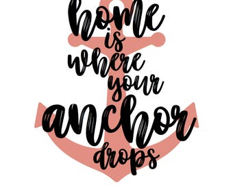 home is where your anchor drops PRINTABLE Digital Download in black and white with red anchor