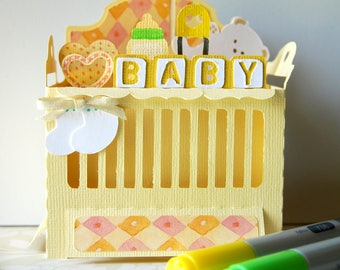 Card - Baby - Popup - Crib in Yellow