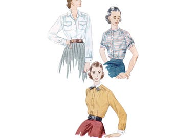 50s Blouse Pattern vintage 32-26-35 SALE Shirt pattern Fitted Blouse pattern Peter Pan Collar Button Down Shirt pattern Simplicity 3656