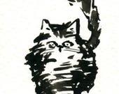 Original Black Cat Gouache Painting ACEO number 155
