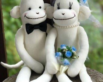 MADE-TO-ORDER Wedding Sock Monkey Doll(Blue) - Wedding Dolls,Wedding Gift, Wedding Decor