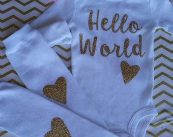 Made 2 matche boutique custom clothing layette by m2mboutique hello world newborn outfit hello world baby outfit unique baby shower gift personalized coming home outfit negle