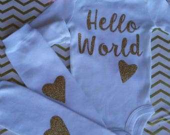 Made 2 matche boutique custom clothing layette by m2mboutique hello world newborn outfit hello world baby outfit unique baby shower gift personalized coming home outfit negle Image collections