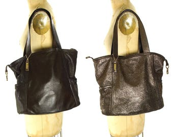 Cole Haan Leather Tote / Vintage 90s REVERSIBLE Brown to Metallic Large Carry All Shoulder Bag / Butter Soft Slouchy Casual Day Purse