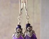 Violet Flower Earrings Sterling Silver Leverback Ear Wire Lucite Flower