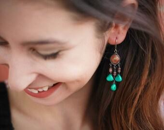 Earthy Stone Chandelier Earrings