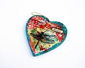 Christmas Ornament with Dragonfly Art | Holiday Ornament | heart shaped | red and green | memorial ornament