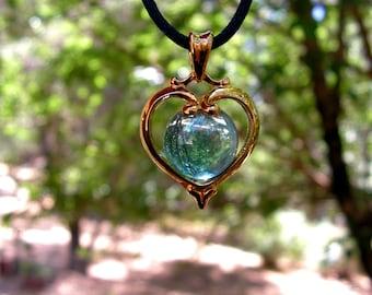 Vermeil Heart Pendant With Aqua Aura