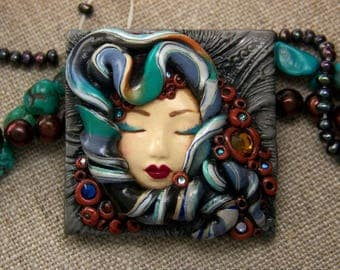Bohemian Goddess Colorful handmade Cameo OOAK Face Cab Handmade Polymer Clay beading cabochon with Crystal accents