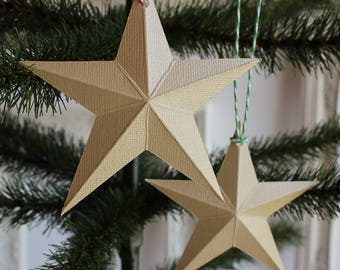 paper star Christmas ornaments - holiday ornament set - Christmas decor - gold ornaments - dimensional barn star - holiday decorations