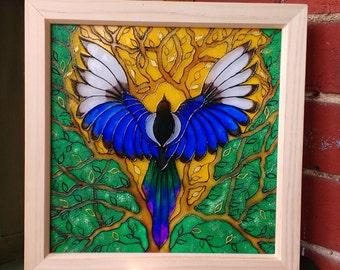 Magpie Glass Art Painting / Original Design /  Bird Art / 25cm Box Frame