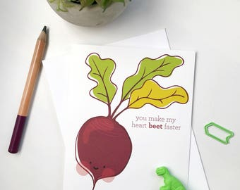 cute punny vegetable Valentine's Day card. you make my heart beet faster. veggie puns cards. love boyfriend, him, partner, her, girlfriend.