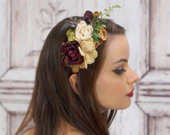 Ivory and Burgundy Flower Headband, Bridal Headband, Rustic Bridal Headband, Wine Boho Flower Headband, Boho Headband, Boho Wedding
