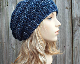 River Run Mixed Blue Knit Hat Blue Womens Hat - Original Beehive Beret - Blue Hat Blue Beret Blue Beanie Blue Winter Hat - READY TO SHIP