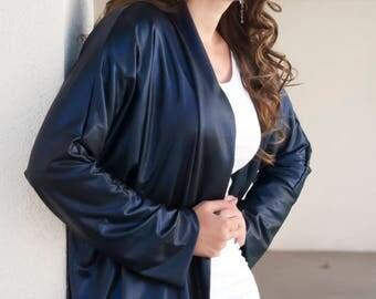 Chic Shiny Special Occasion Leather Look Kimono. Dark Blue Street Kimono. Dressy Dolman Jacket. Liquid Pleather Kimono Cover. ONE Size M-XL