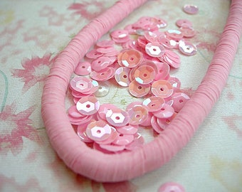 Vintage Sequins Strand PASTEL PINK Rainbow couture lot full strand 6mm cupped