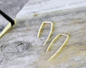 14K Gold-Filled Twisted Threader Earrings / Vintage Modern Jewelry