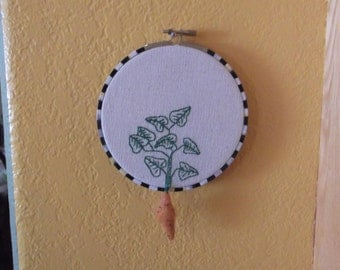 """Embroidered Felted Mixed Media Sweet Potato Yam Dimensional Wall Art Hoop """"MacKenzie Childs Inspired"""""""
