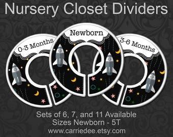 Spaceship Nursery Closet Dividers, Rocketship Baby Clothes Organizers, Baby Boy Gift, Space Nursery Decor