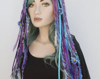 Flower Wool Dread Hair Falls Purple Hair Extensions Gothic Indie Goth Psytrance