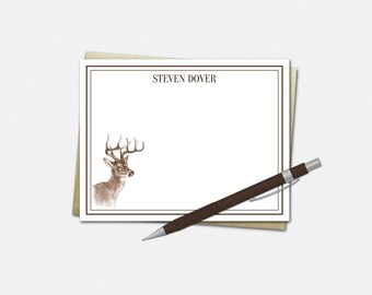 Personalized Deer Note Cards - Buck Note Cards - Set of 10 - Masculine Note Cards - Flat Note Cards - Personalized Note Cards for Men