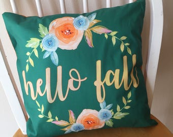 Pillow cover / Throw Pillow Cover / Fall pillow cover / hello fall / watercolor floral pillow cover / 14x14