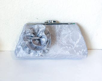 Silver Lace Flower Clutch for Flower Girl or Bridesmaid- More Colors Available