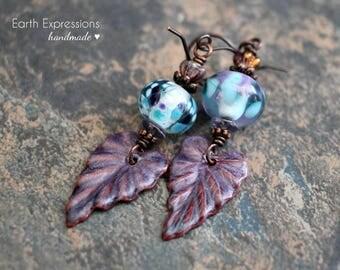 Fall Leaf Artisan made earrings. Boho earrings. Lampwork beads, enameled charms, Czech glass. Solid copper. Teal purple.